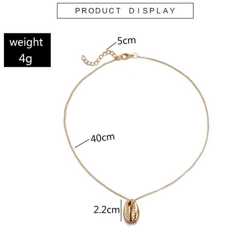 Yiustar BoHo Cowrie Kerang Kalung untuk Wanita Warna Emas Musim Panas Surf Perhiasan Kalung Gadis Kolye Kerang Perhiasan