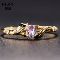 Solid 14k Yellow Gold Natural Diamonds Oval Cut Natural Morganite Engagement Ring Anniversary Wedding Ring for Women Party