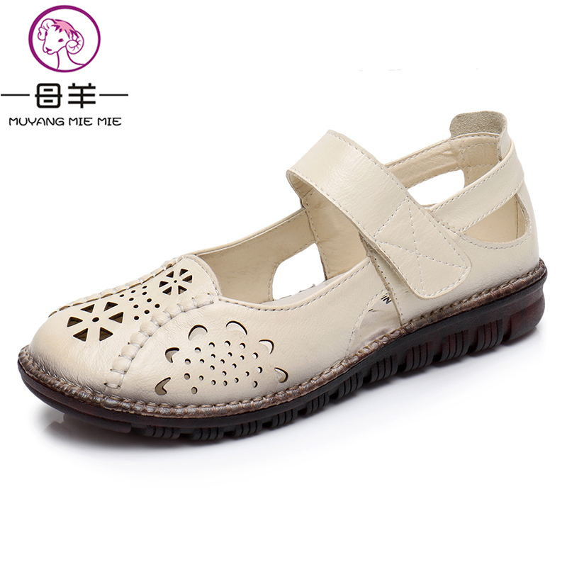2018 NEW Genuine Leather Breathable Soft Flat Sandals Summer Women Shoes Woman Casual Solid Buckle Strap Women Sandals