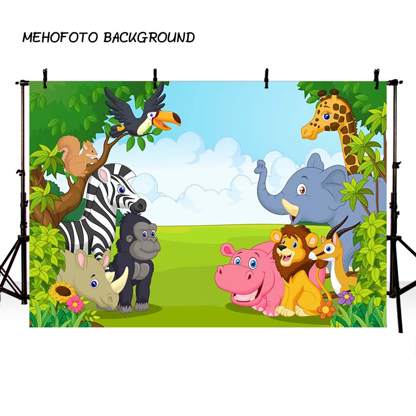 Consumer Electronics Jungle Animal Photography Backdrops Cartoon Forest Safari Birthday Party Dessert Table Decor Photo Background Photocall Props Background