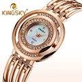 Kingsky Luxury Brand Ladies Watches Women Wristwatches Quartz Gold Silver Rhinestone Watch Reloj Mujer Clock Faux Diamond