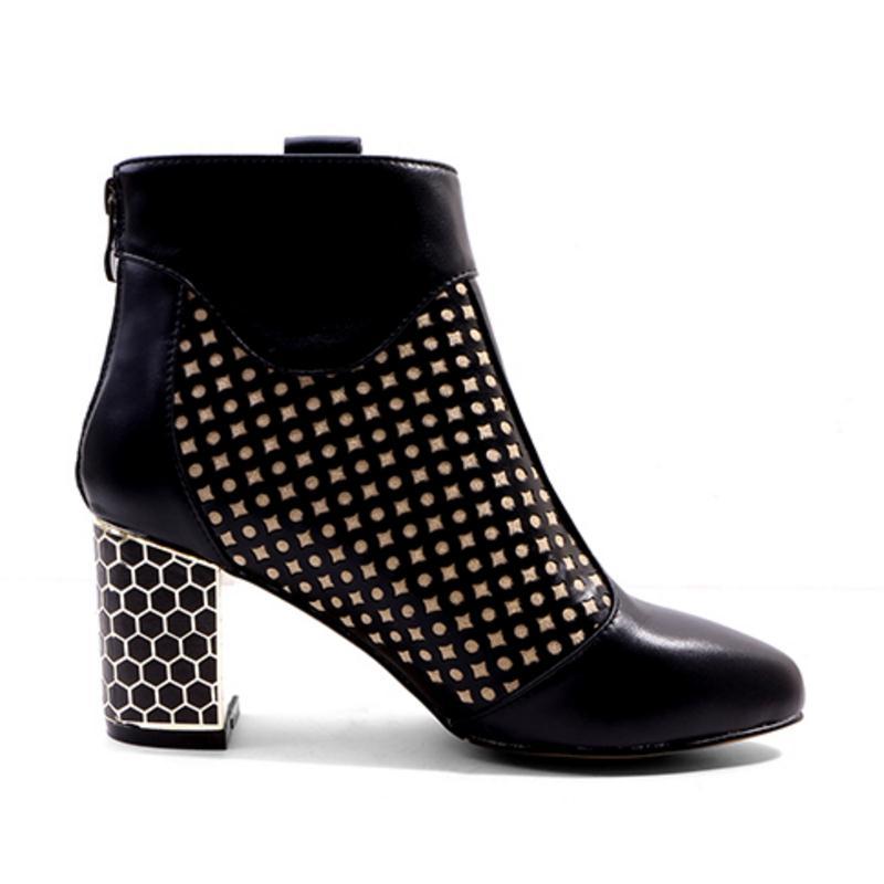 De Cuero Mezclado Dot Polka Botas Zapatos 42 Invierno Genuino Mujer Del 34 Corta Tacón Color Negro 1221 Tamaño Alto marrón Cuculus Mujeres 0f6Pxw8XOq