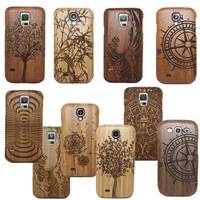 2015 Hot 100 Natural Wooden Bamboo Wood Carving Multi Pattern Hard Back Cover For Samsung Galaxy