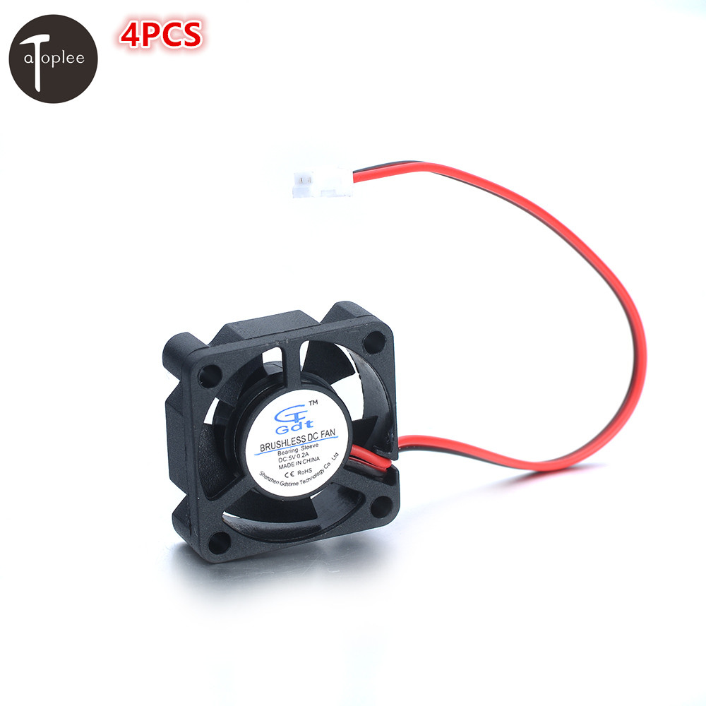 4PCS DC 5V Cooler Brushless DC Fan 30x30x10mm Brushless 2-pin 5 Blades Mini Cooling Radiator For Computer Cases DIY Cooling