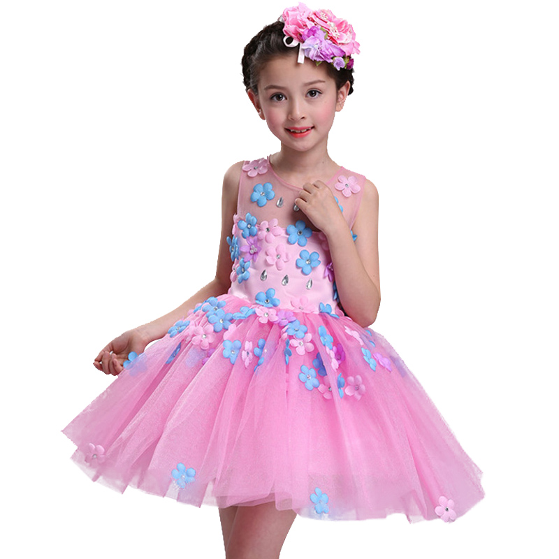 New summer baby girl Clothes print flower girl dress for wedding girls party dress with bow dress 5