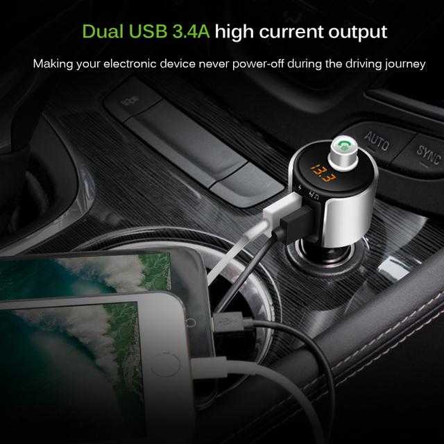 Onever Wireless Bluetooth FM Transmitter Modulator Car Radio Adapter Car MP3 Player 3.4A Dual USB Car Charger Handsfree Car Kit