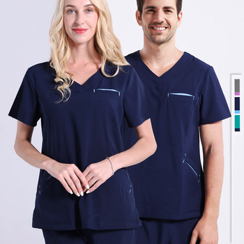 Nurse Uniform Medical Clothes Scrub Set Hospital Outfit Infinity Stretch Solid Color Short Sleeve Doctor Dental Clinic Workwear