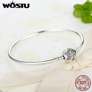 Image 3 - WOSTU Authentic 925 Sterling Silver Engrave Snowflake Clasp Unique as you are Chain Bracelet & Bangle Fit DIY Jewelry XCHS915