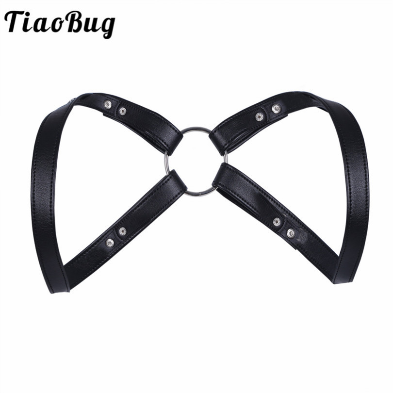 TiaoBug Faux Leather O-ring Connected Black Adjustable Men Body Chest Harness  Bondage Adult BDSM  Bondage Men Lingerie