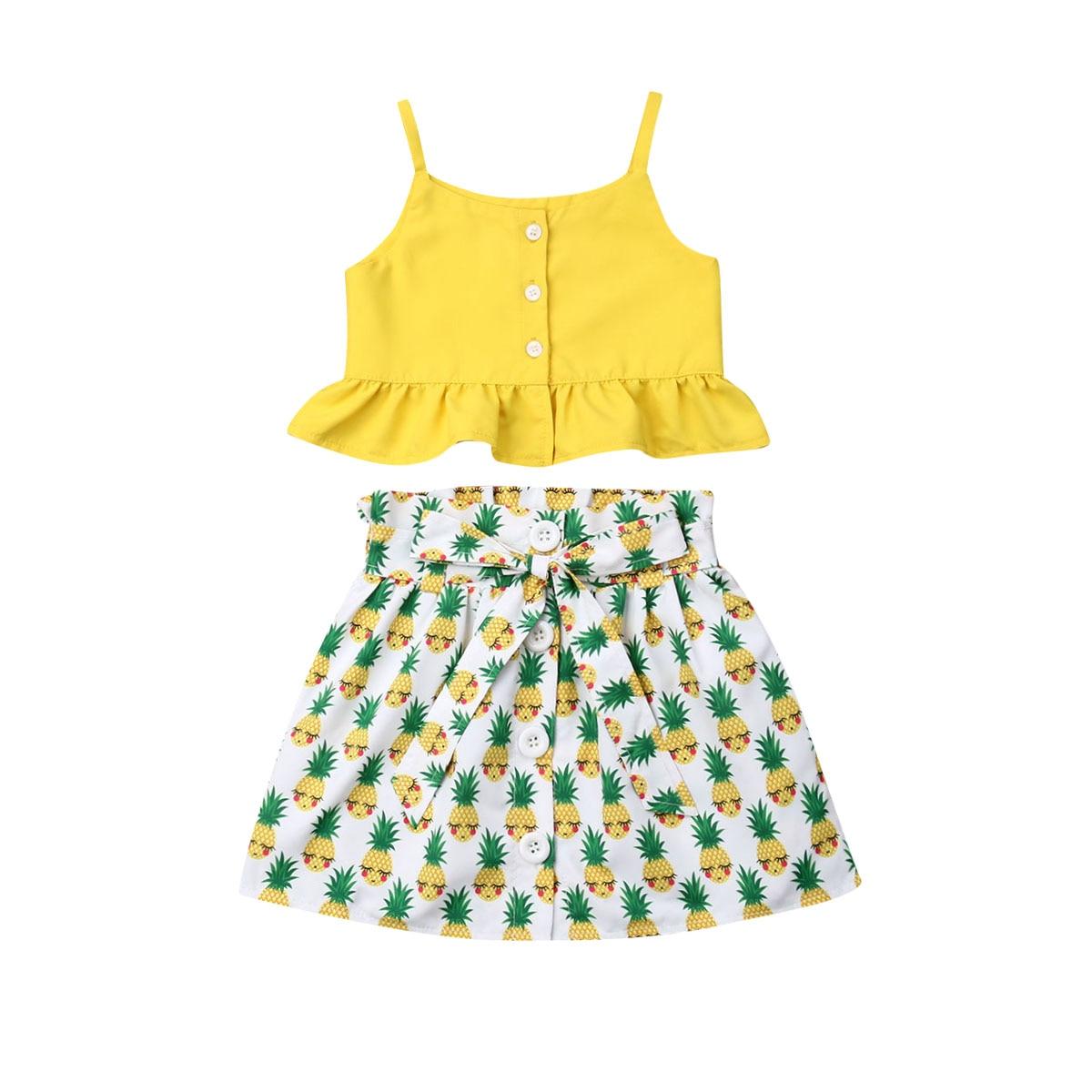 2pcs Summer Shorts Set Infant Kids Baby Girls Sleeveless Pineapple Romper Tops+Polka Dots Short Pants Outfits