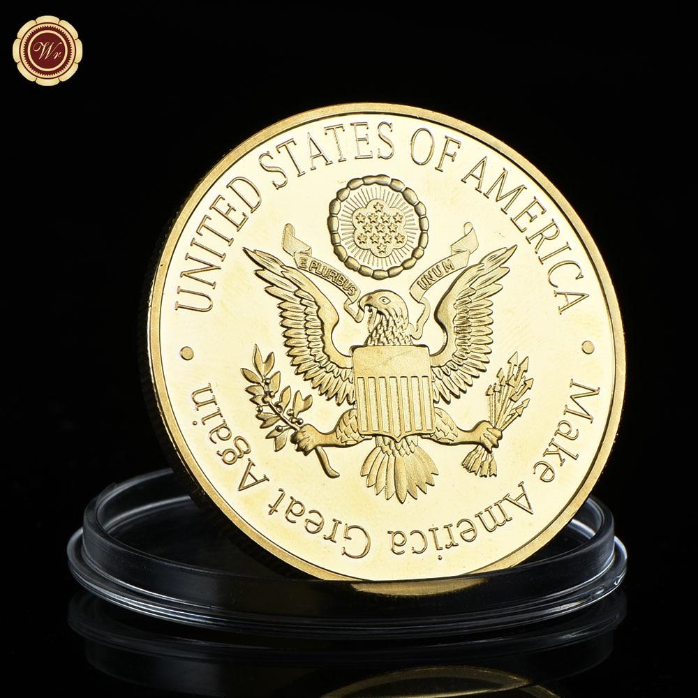 WR 1 Adet Altın Başkan ABD Donald Trump Altın Kaplama Sikke ABD - Ev Dekoru - Fotoğraf 2