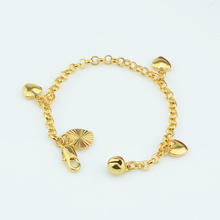 Модный детский женский браслет золотого цвета с милым гладким сердечком и колокольчиком Новинка