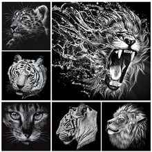 DIY 5D Diamond Painting Cross Stitch Full Diamond Embroidery Tiger Cat Lion Mosaic Pasted Painting Black & White Animal Portrait(China)