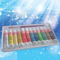 12 색 전문 아크릴 페인트 세트 손으로 그린 벽화 섬유 페인트 밝은 색 미술 용품 peintur