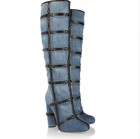 2017 Winter Warm New Arrival Denim Soft Leather Round Toe Zip Patchwork Knee High Boots Caged Chunky High Heels Women Boots women irresistible suede color patchwork ankle boots round toe chunky heels classic side zip short boots new arrival this year
