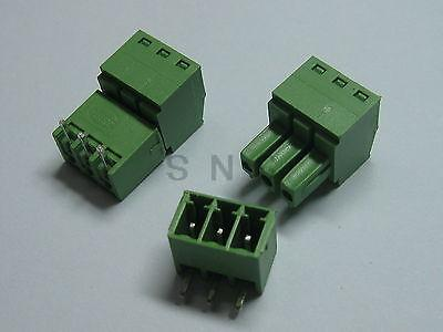 250 pcs Screw Terminal Block Connector 3.5mm Angle 3 pin Green Pluggable Type 150 pcs screw terminal block connector 3 5mm angle 7 pin green pluggable type
