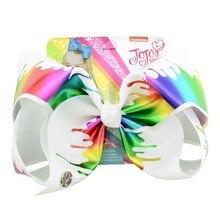 1 шт. 8 дюймов «jojo зажим большой бант зажим бабочка в горошек заколка цветов радуги большой зажим для волос ручной работы аксессуары для волос для девочек