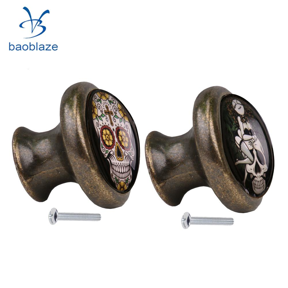 2pcs Skull Pattern Vintage Metal Door Knob Cupboard Cabinet Bin Drawer Dresser Pulls Handle Knob Furniture Hardware #5 2pcs set stainless steel 90 degree self closing cabinet closet door hinges home roomfurniture hardware accessories supply