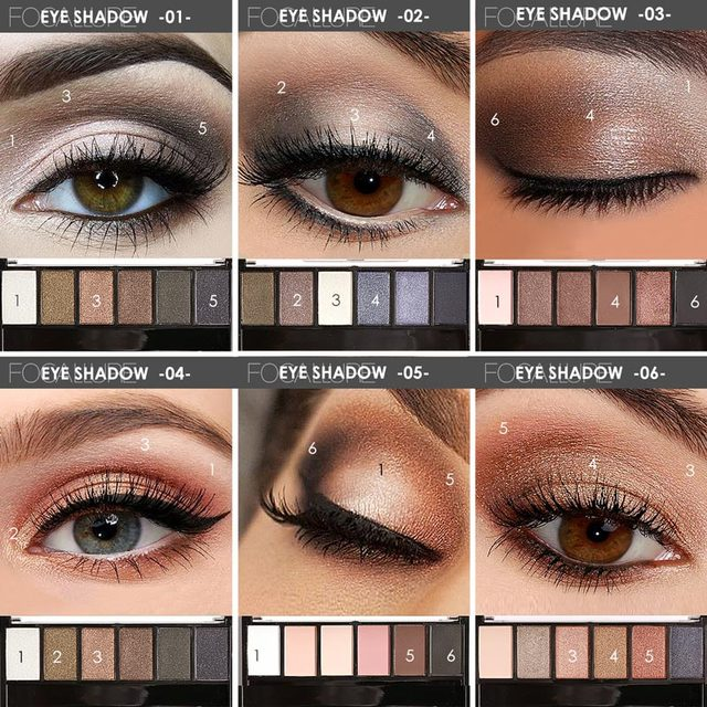 FOCALLURE 6 Colors Eyeshadow Palette Glamorous Smokey Color Eye Shadow Shimmer Glitter Smooth Creamy Powder Makeup Eye Shadow 2