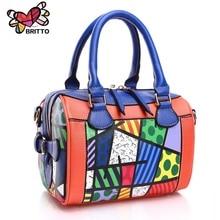 ROMERO BRITTO 2016 New Arrive Bags Handbag Women Famous Brands Digital Printing Beautiful Floral PU Shoulder
