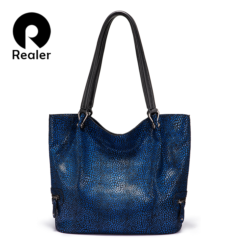 Realer Women Shoulder Bag High Quality Genuine Leather Luxury Handbag For Ladies Large Capacity Designer Female Casual Totes