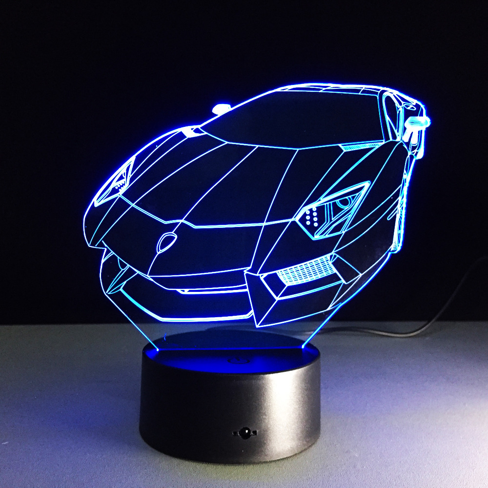 Creative sports car luminarias colorful changing illusion led creative sports car luminarias colorful changing illusion led night light touch switch 3d table lamp for kids gift decor lights in night lights from lights mozeypictures Images