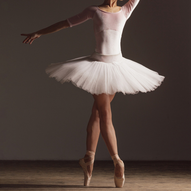 Professional Adult Latin Ballet Swan Lake Dance White Black Elastic Waist Tutu Ballerina Four-Layer Mesh Tulle Mini Ball Skirt