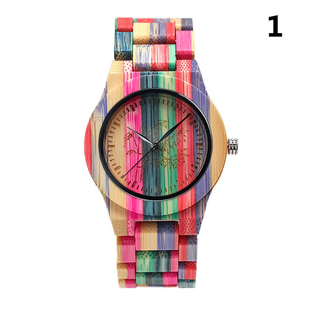 1 Pcs Women Lady Wrist Quartz Watch Wooden Bamboo Strap Round Bamboo Dial Colorful Fashion Gift LL@17 5