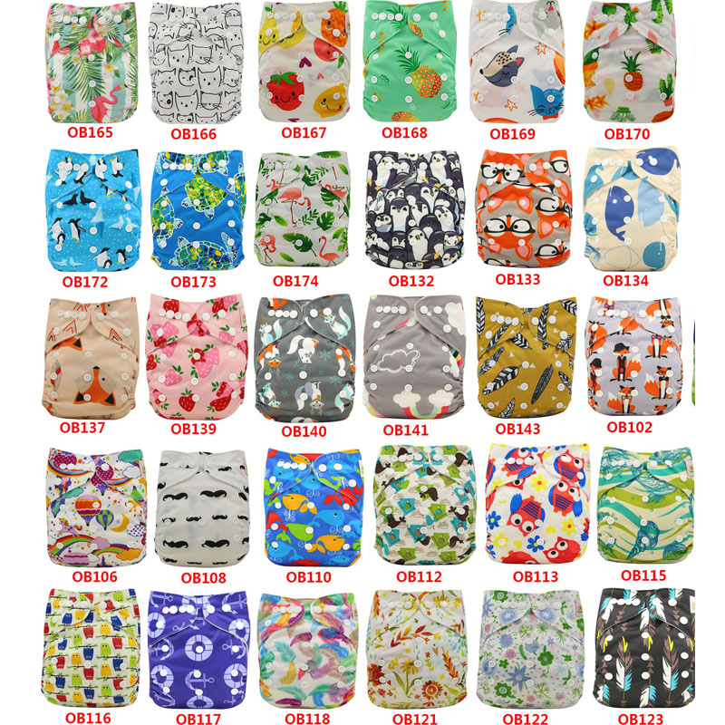 30 Pack Ohbabyka Brand Cloth Diaper Cover Reusable Baby Nappy Animals Patterns Print Baby Waterproof Pocket Diapers Adjustable