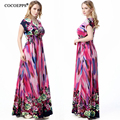 Plus Size XL-7XL 2017 New Summer Womens Fashion Casual Dress Floral Printed Bohemia V-Neck Sleeveless Floor-length Long Dress