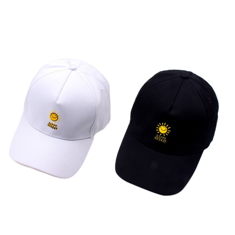 Harajuku Cotton Sun Cap Cute Cartoon Smiling Sun Happy Sunday Letters Printed Hip Hop Snapback Peaked Hat Women Men