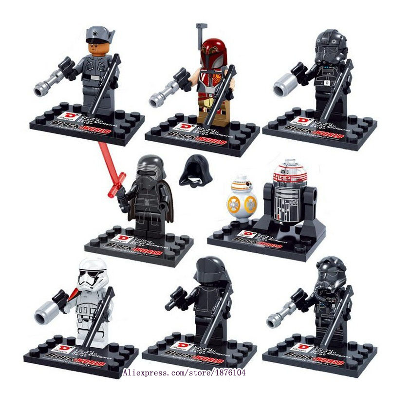 8pcs legoeINGly Star Wars Force Awakens Mini Building Blocks Figurer Modell Leksaker För Barn Super Heroes Tegelstenar Juguetes