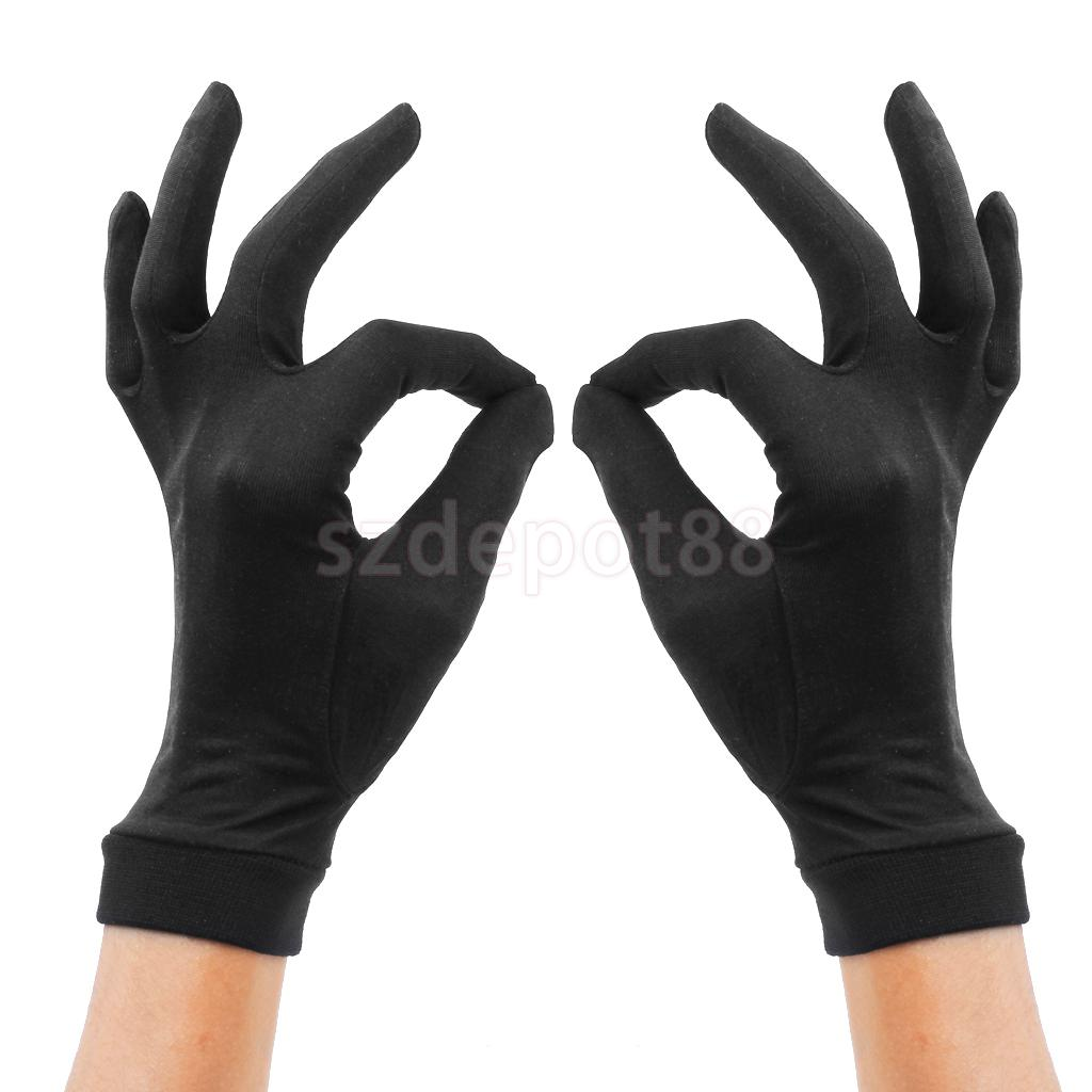 New 2015 1 Pair Black Pure Silk Liner Inner Gloves Ski Under Glove Motorcycle Skiing Cycling - Medium Christmas Gift