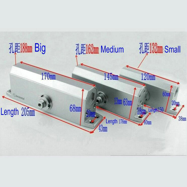 238 Model Medium Type 90 Degree NO Positioning Hydraulic Aluminium Door Closer Heavy Duty Of Free Shipping