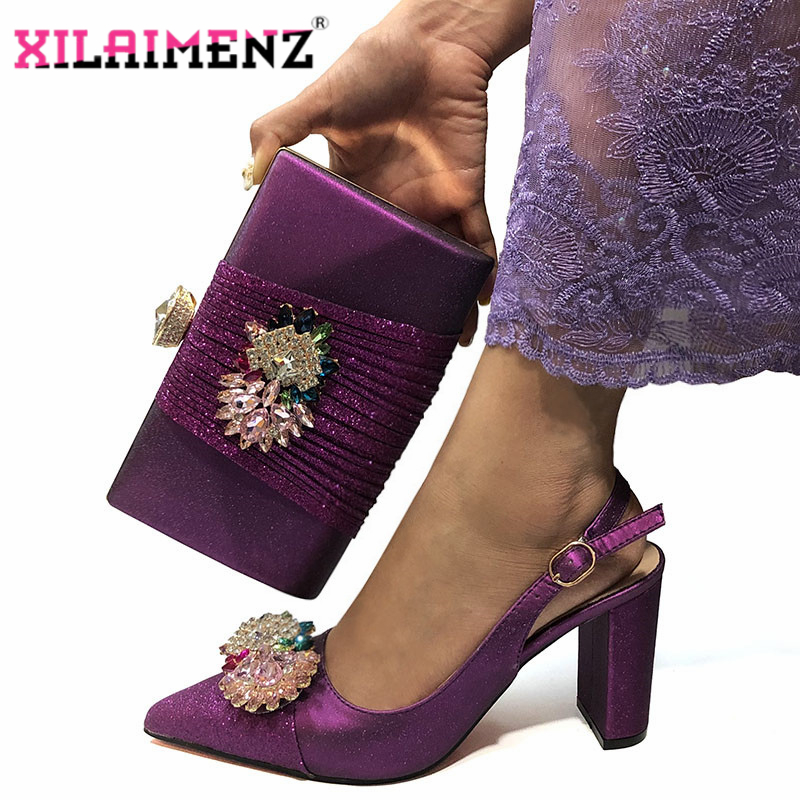 High Quality Woman Luxury Crystal Shoes And Purse Set For Party Nigerian Shoes Matching Bag High