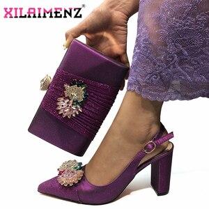 Image 1 - Hoge Kwaliteit Vrouw Luxe Kristal Schoenen En Portemonnee Set Voor Party Nigeriaanse Schoenen Bijpassende Tas Hoge Hakken Bruiloft Schoenen En tas Set