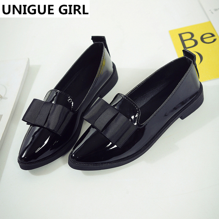 UNIGUE GIRL 2019 Classic Brand Shoes Women Casual Pointed Toe Black Oxford Shoes For Women Flats Comfortable Slip On Women ShoesUNIGUE GIRL 2019 Classic Brand Shoes Women Casual Pointed Toe Black Oxford Shoes For Women Flats Comfortable Slip On Women Shoes