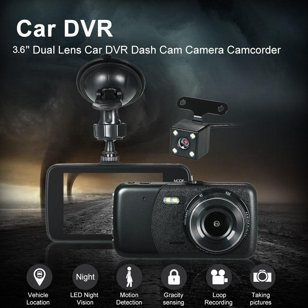 KKmoon 4Inch Dual Lens Car DVR Dash Cam Camera Camcorder Vehicle Location / LED Night Vision / Motion Detection / Loop Recording
