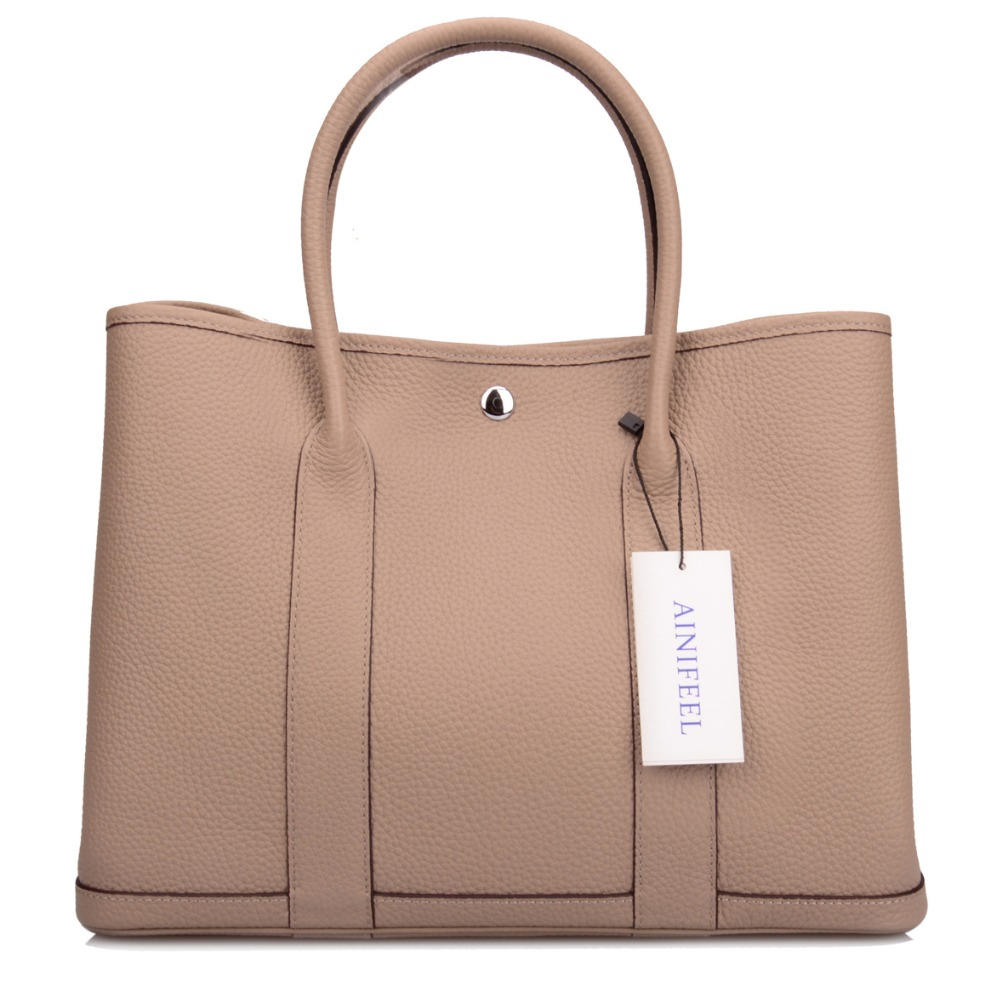 Ainifeel Women s Genuine Leather Luxury Designer Tote Bag Top Handle  Handbags Shopping Bag-in Top-Handle Bags from Luggage   Bags on  Aliexpress.com ... f13484213adac