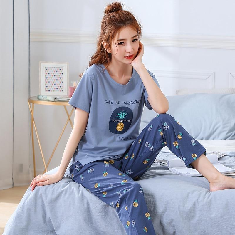 Summer Pajamas Cotton Home Pants Women Sleepwear Thin Pyjama Women Pants Female Casual Lady Home Wear Plus Size XXL 3XL 4XL 5XLPajama Sets   -