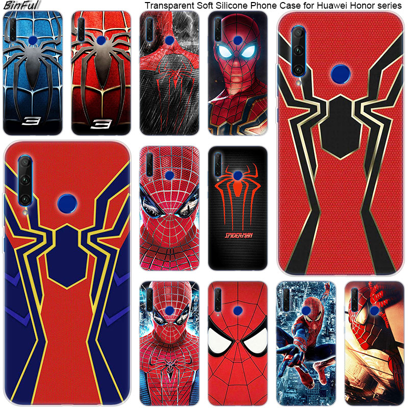 Hot <font><b>Marvel</b></font> Spider man Soft Silicone <font><b>Phone</b></font> <font><b>Case</b></font> for Huawei <font><b>Honor</b></font> 20 20i 10 <font><b>9</b></font> 8 <font><b>Lite</b></font> 8X 8C 8A 8S 7S 7A Pro View 20 Fashion Cover image