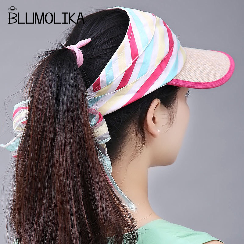 Women 2018 Fashion Summer Hats for Women Anti UV Visor Cap Female Girls Beach Foldable Floppy Linen and Polyester Hat Wholesale in Women 39 s Sun Hats from Apparel Accessories