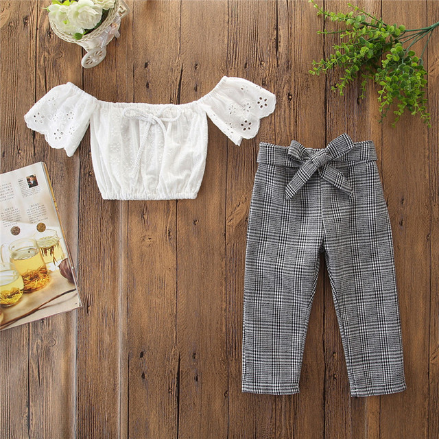 מכירה לוהטת פעוט ילדה תלבושות ילדים בייבי בנות תלבושות בגדי כבוי כתף חולצות + מכנסיים משובצים סט פעוט ילדה תלבושות # S20