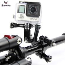 SnowHu accesorios para GoPro, manillar de motocicleta, tija de sillín, soporte ajustable de 3 vías para Go pro Hero 9 8 7 6 5 GP02