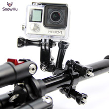 SnowHu for GoPro accessories Bike Motorcycle Handlebar Seatpost Pole Mount 3 Way Adjustable Pivot for Go pro Hero 9 8 7 6 5 GP02