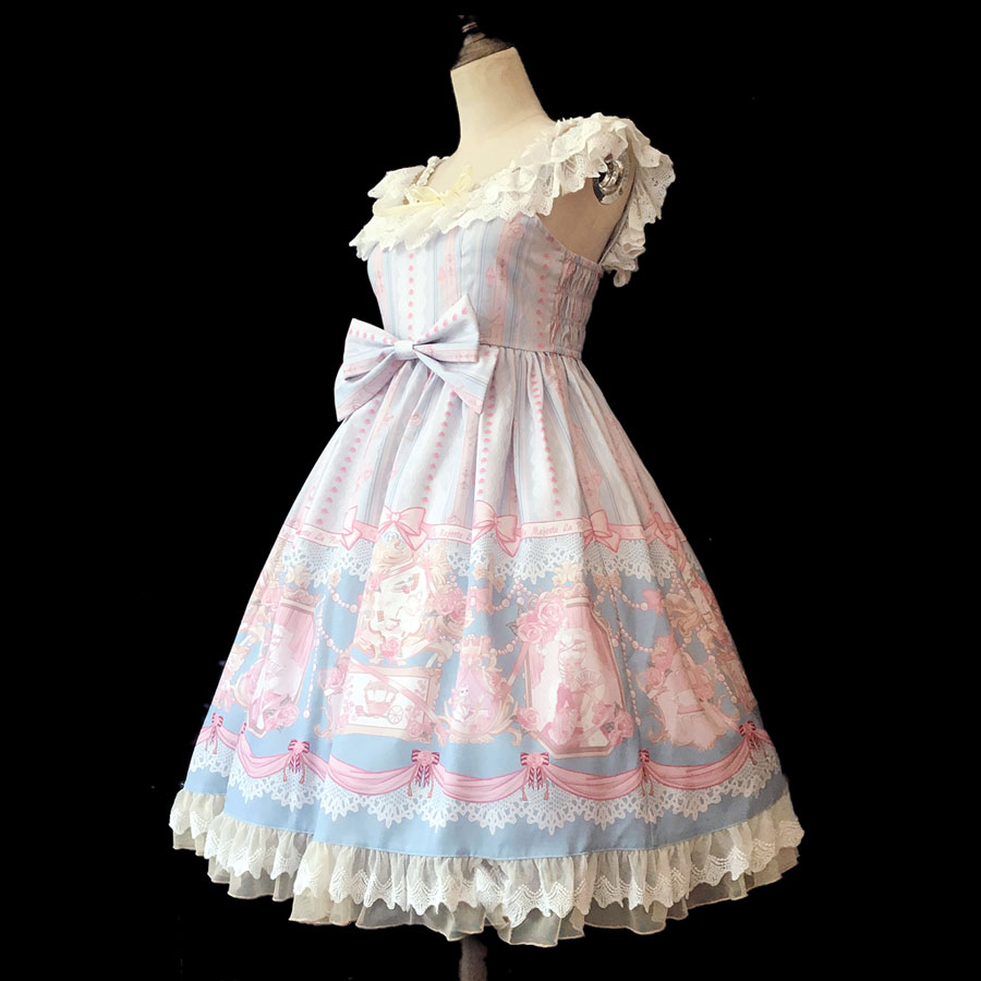 Rose Queen Sweet Printed Lolita JSK Dress Sleeveless Midi Dress by Infanta