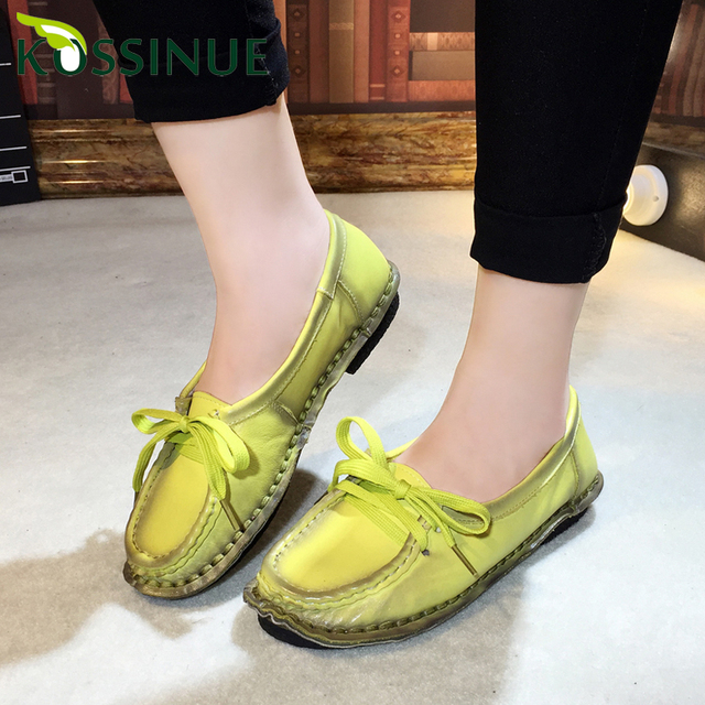 2016 New Brand Women's Genuine Leather Casual Shoes Fashion Women Flat Shoes Woman Loafers Solid Comfortable Soft Women Shoes