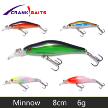 цена CRANK BAITS 1Pcs 80mm 6g Hard Bait Wobblers Minnow Fishing Lure Pesca Tackle Bass Pike Fishing Crankbait Artificial Bait YB25 онлайн в 2017 году