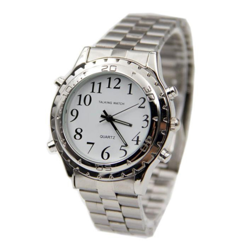 English Talking Clock Stainless Steel For Blind Or Visually Impaired Watch Gift relogio masculino Uhren relojes NOV7 5Up