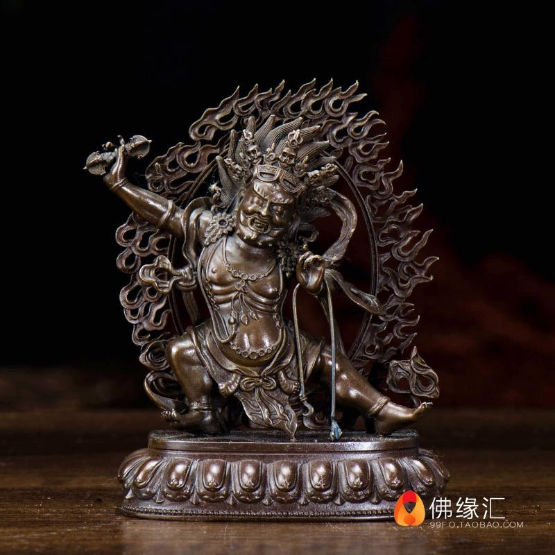 Tibetan Buddhist Seiko Tantric Pure Copper Vajrapani / Trend To Bodhisattva Buddha Statue / Trumpet / 2 Inches